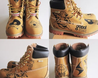 FREE SHIPPING Customize Your Own Timberland Boots, For Unisex Adults, Unisex Children, Black Color Only, & Color Designs Available