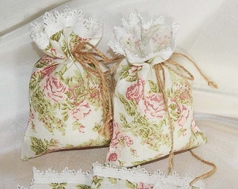 Fabric Gift Bags, Set of 10 Decorative Favor Bags, Natural Linen Gift Bag, Floral Favor Bags, Linen Sachet Bags