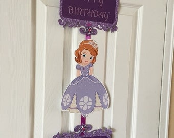 Princess sofia Birthday door sign customized with your child's name