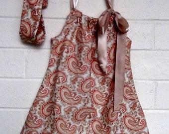 Girls Paisley A line Ribbon dress with Matching HeadBand