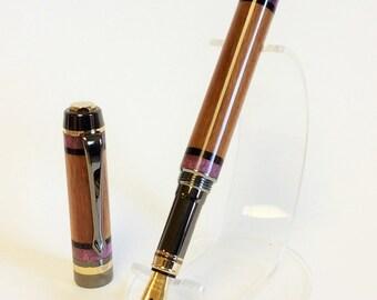 Handmade Wood Fountain Pen, Almond with African Blackwood and Purple Box Elder Burl