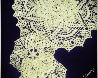 Set (3 pieces) openwork crocheted doilies.   Doilies champagne color. Doilies related   handmade crochet. 100% cotton.