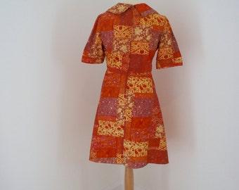 Fabulous Vintage Handmade Short Sleeve Orange Patchwork  Print Dress With Collar Size UK 8-10