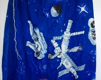 "Pair Of Vintage Outer Space Spaceman Planets Curtains Length 48"" Width 62"""