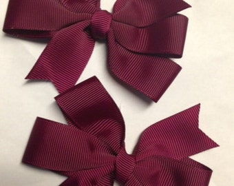 """pigtail set of 2 bows - 3.5"""" burgundy wine hair bow clip birthday party favor pinwheel baby toddler teen piggies piggy bows cheer sport"""