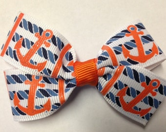 """3"""" orange anchor navy blue rope nautical hair bow clip birthday party favorpinwheel stacked baby toddler teen cruise vacation summer beach"""