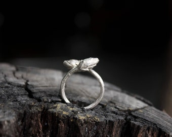 Free shipping Lotus Flower Sliver Adjustable Nature Ring Water Lily 925 Sterling Sliver Open Flower Ring  Unique Handmade Jewelry FHRP002