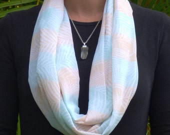 Tropical scarf, infinity scarves, summer scarf, lightweight scarf, unique design, women's scarf, chiffon scarf, green scarf, peach