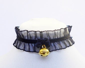Choker with ruching, golden bell and a ribbon