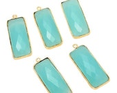 ON SALE 50% 10 pcs Aqua Chalcedony Connectors, Rectangle Bezel Connectors, Gemstone Connectors, Connector Charms, Jewelry Connectors, SKU-Cc