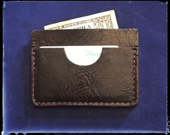 Handcrafted and Personalized Bison Leather Wallet - Small and Thin