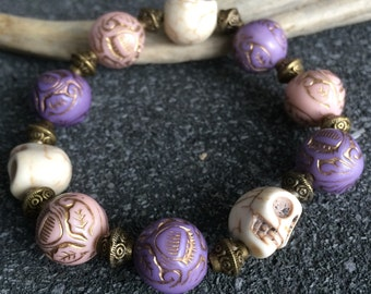 Victorian - Gothic big skulls - purple and pink beads