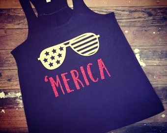 Patriotic 'Merica Racerback Tank | 4th of July Shirt