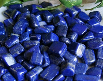 """1/2lb Bulk Natural Tumbled Lapis Lazuli Stones from Afghanistan - Large 1\"""" Polished Crystals for Reiki Crystal Healing *Wholesale Lot*"""