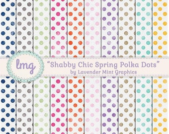 Shabby Chic Digital Paper, Scrapbook Papers, Polka Dot Paper, Vintage Paper, Rustic Vintage Background, Instant Download, Commercial Use