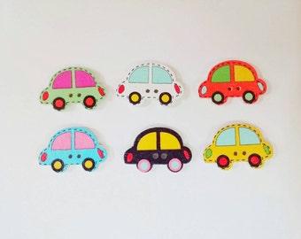Wooden Car Buttons x 6