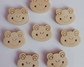 Wooden Frog Buttons x 8