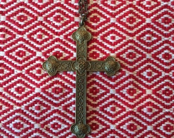 Antique italian brass cross