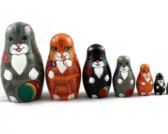 Matryoshka Matrioshka Russian Nesting Doll Babushka Kittens Côte Cat Kitty Set 7 Pieces