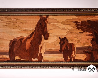 Unique wooden picture-marquetry artwork-marquetry technique-picture of horses-inlaid wood picture-veneer sheet picture [WD-231]