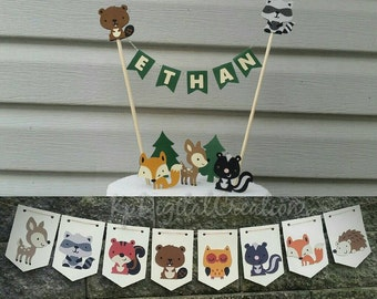 Woodland cake topper, Woodland baby shower, Woodland animals, Woodland birthday, woodland creatures, forest friends, fox cake topper, deer