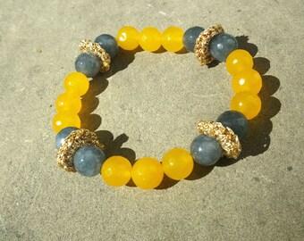 Yellow and grey semi-precious bracelet