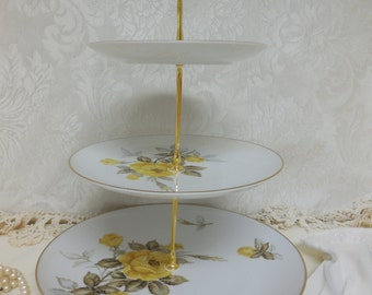 3 Tiered Yellow Rose Cupcake Stand, 3 Tiered Yellow and Gold Cake Stand, 3 Tiered Treat Stand, 3 Tiered Dessert Stand, 3 Tiered Pastry Stand