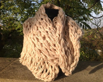Super chunky oversized hand and arm knitted scarf, shrug, shawl in lovely oatmeal, cream pure merino wool