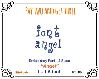 1 - 1.5 inch Embroidery angel Font