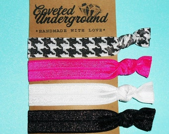 Houndstooth Hair Ties | Houndstooth, Hot Pink, White & Black