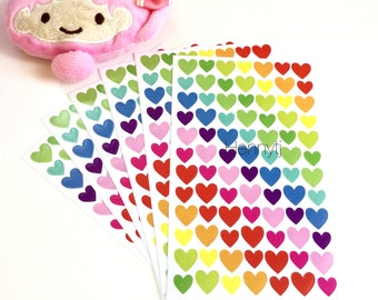 "Rainbow Kawaii ""HEART Shaped"" Classic Love Stickers. Daily Diary Deco Stickers. For Filofax KIKKI.K Erin Condren Life Planner decorations."