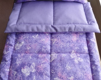 "Purple Doll Bedding, Doll Blanket Pillow, Doll Crib Set, 18"" Doll Bedding, Doll Comforter, Doll Blanket Set, Butterfly Doll Bedding Set, New"