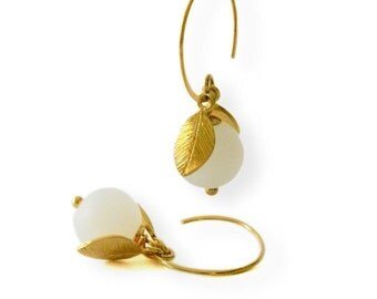 Handcrafted, 24 carat gold plated solid sterling silver earrings with frosted jade stone