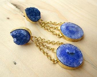 Blue Agate Earring/Blue Sugar Druzy Earrings/Statement Earrings/Gemstone Earrings/Gold Chain Earrings
