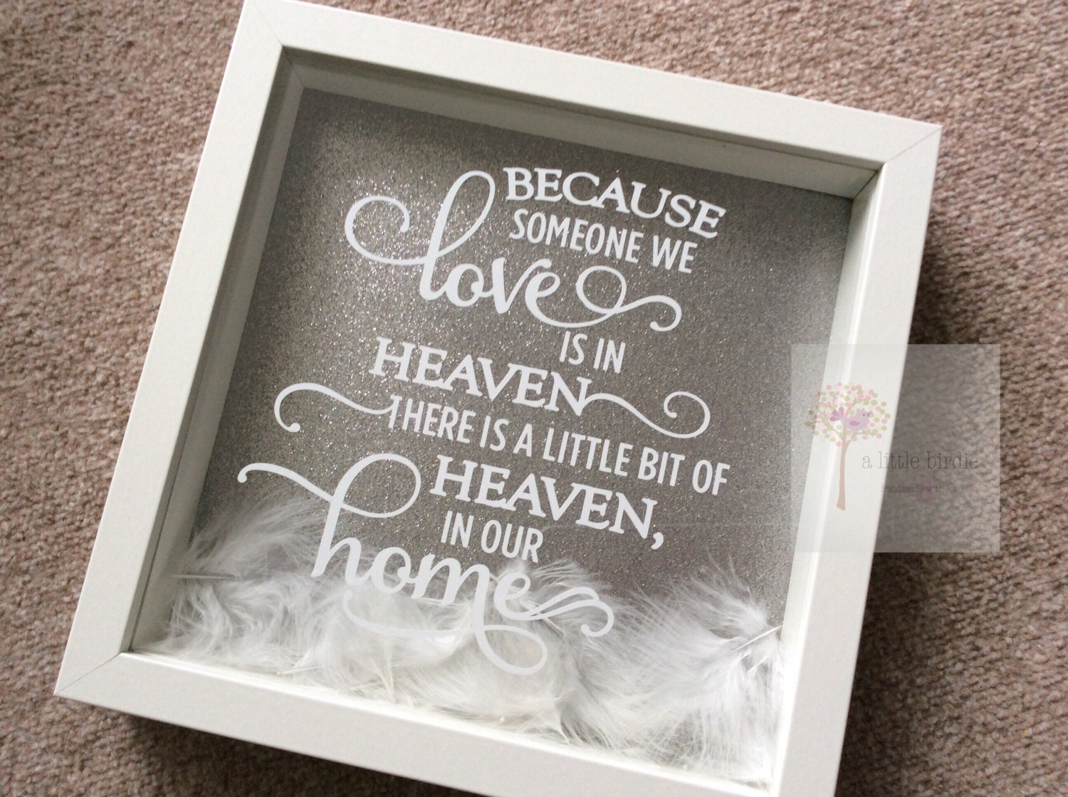 because someone we love is in heaven feather glitter box frame in loving memory memorial gift angel feathers with sympathy keepsake