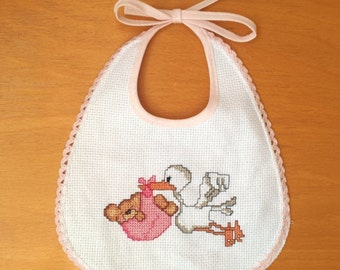 bib with cross stitch stork