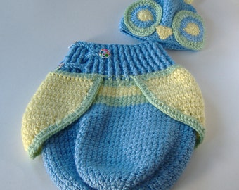 Crochet Owl Cocoon, Blue Yellow Green, Made To Order Owl Cocoon, Baby Owl Cocoon Set, Baby Boy Owl Cocoon, Baby Crochet, Ready To Ship