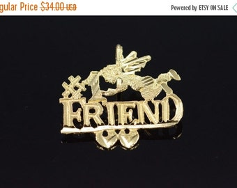 1 Day Sale 14K #1 Number One Friend Angel Charm/Pendant Yellow Gold