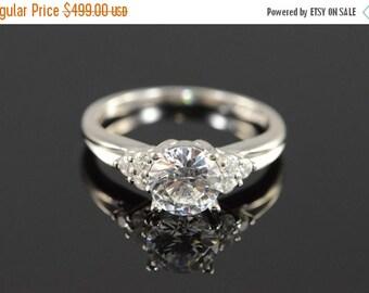 ON SALE Platinum 1.50 Ctw CZ Engagement Ring Size 7