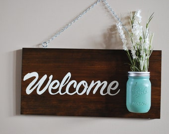 Mason Jar Welcome Sign and Wall Art