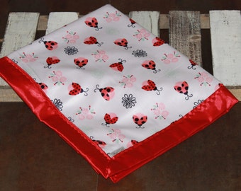 Lady Bug Silky Baby Blankets, Minky and Satin Baby Blanket, Silky Blanket