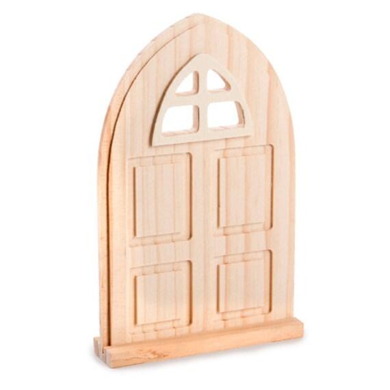 Fairy garden door with window unfinished wood x 6 for Unpainted fairy doors