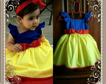 100% Cotton Ruffled Sleeve Snow White Dress with Petticoat included