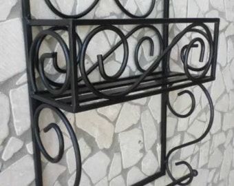 Wrought iron shelf Spice rack and rustic country style kitchen door craft paper cannonbolt