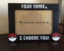 "Customised / personalised Pokemon ""I Choose You"" picture / photo frame - Choose your name! Hama / Perler beads"
