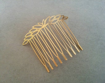 Gold Bridal Hair Comb, Leaves Hair Piece, Gold Headpiece, Gold Wedding Comb, Bridal Hair Accessory, Flower Comb, Gold Hair Comb, Leaf comb