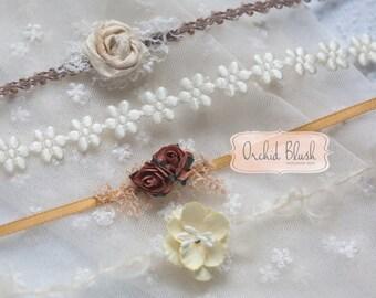 Set of 4 Gold & cream newborn headbands/tiebacks.  photo prop
