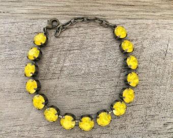 New! Swarovski Yellow Opal 8mm Bracelet