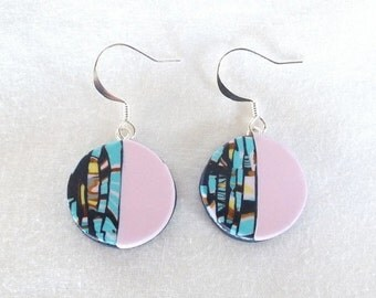 ON SALE 25% OFF Pink earrings, statement earrings, turquoise earrings, boho earrings, pink drop earrings, pink blue earrings, polymer clay e