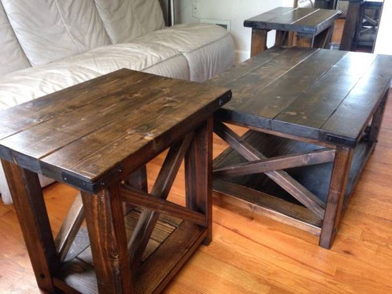 Farmhouse 3 Piece Coffee Table Set By Craftyrusticelegance